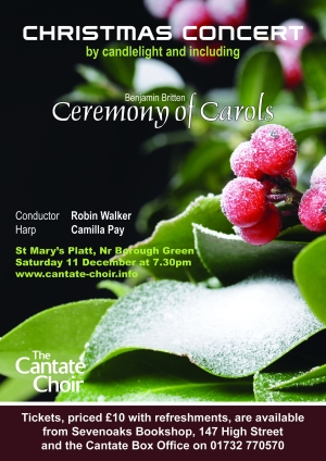 Poster for the Cantate Choir's December 2010 Concert - Ceremony of Carols