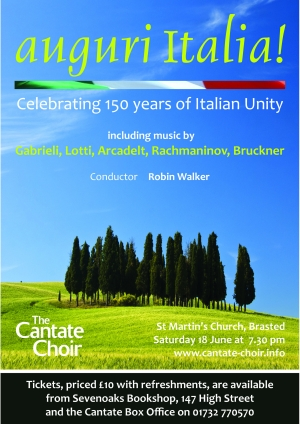 Poster from the choir's Auguri Italia! tour to Italy