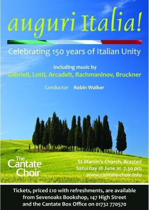 Poster from the choir's Auguri Italia! tour to Italy