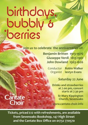 Poster from Cantate Choir's June 2013 concert - Birthdays, bubbly and berries