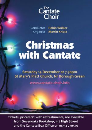 Poster for The Cantate Choir's Christmas concert in December 2013