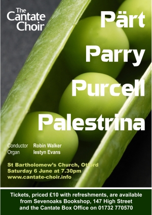 Poster for the Cantate Choir's June 2009 Concert - Part, Parry, Purcell and Palestrina