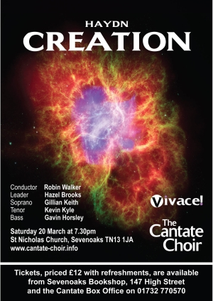 Poster for the Cantate Choir's March 2010 Concert - Haydn Creation