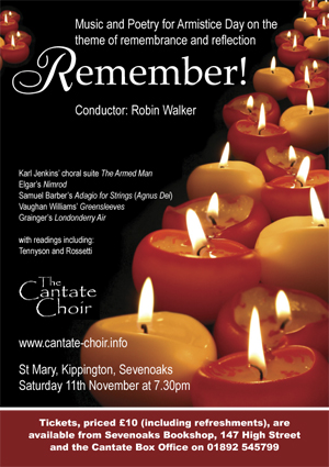 Poster from Cantate Choir's Remember! concert in November 2006