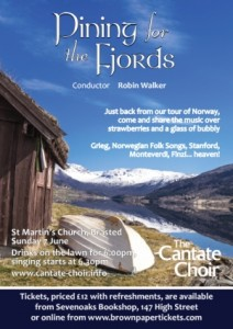 Poster for Cantate's 'Pining for the Fjords' concert in June 2015