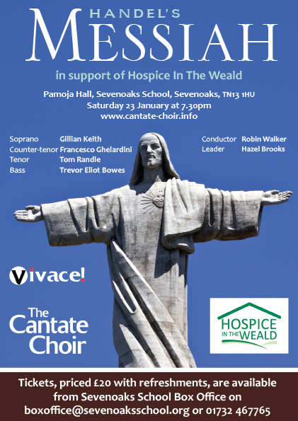 Poster for Handel's Messiah concert given by Cantate Choir in January 2016