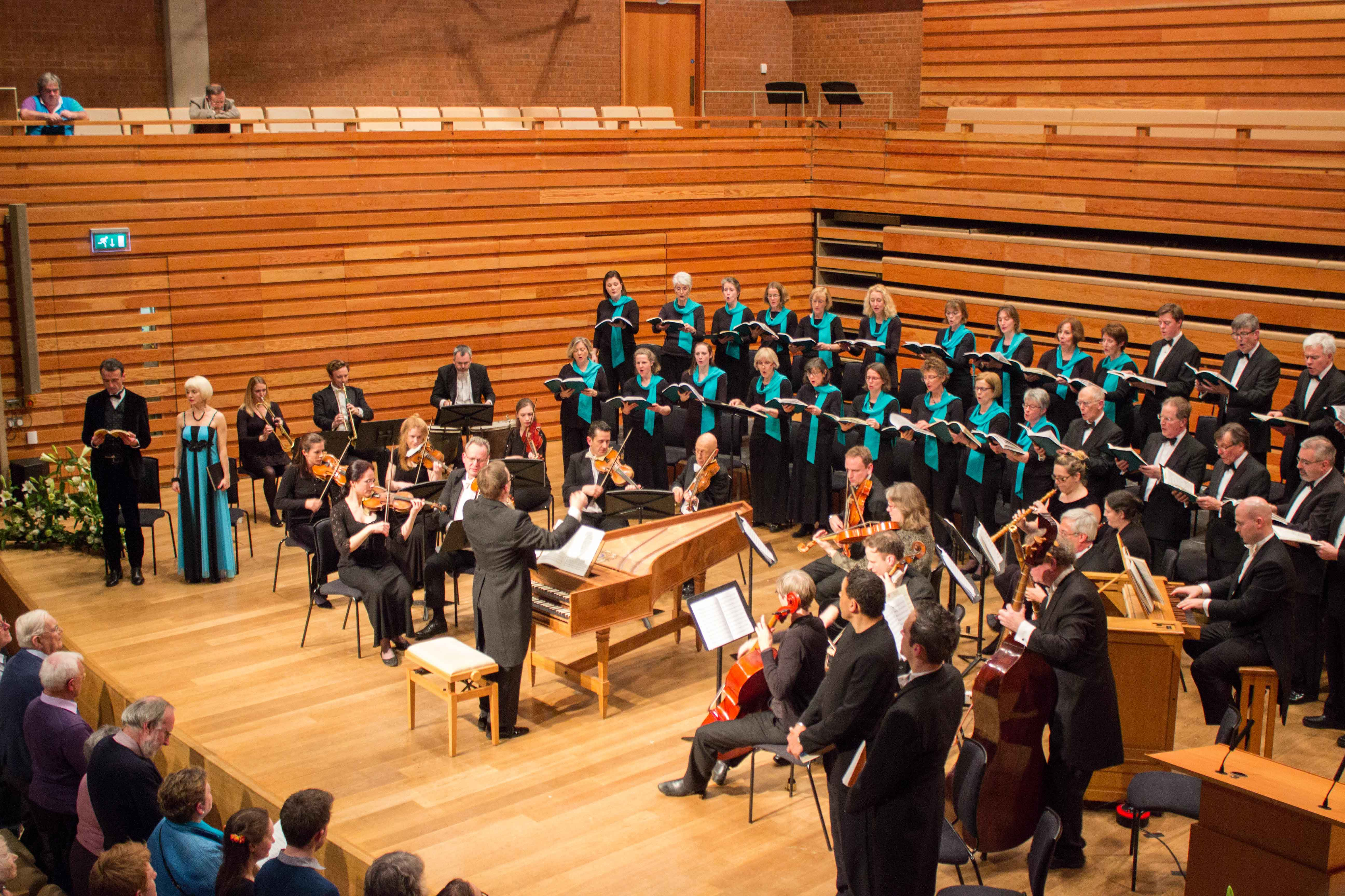 Choir, orchestra and soloists performing the Hallelujah chorus in Handel's Messiah