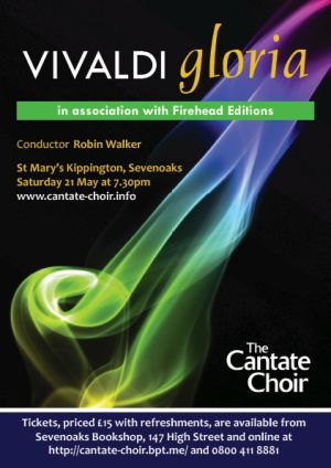 Poster for Cantate Choir's Vivaldi Gloria concert in May 2016