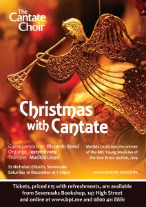 Poster for Cantate Choir's Christmas concert in December 2016 - Christmas with Cantate