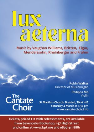 Poster for The Cantate Choir's Lux Aeterna concert in March 2017