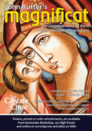 Poster for Cantate Choir's Christmas Concert in 2017, Rutter's Magnificat