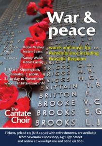 Poster for Cantate Choir's War & Peace concert in November 2018
